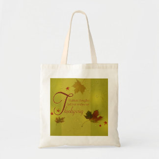Thanksgiving Wishes Typography Leaves Budget Tote