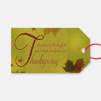 Thanksgiving Wishes Typography Leaves - Gift Tag