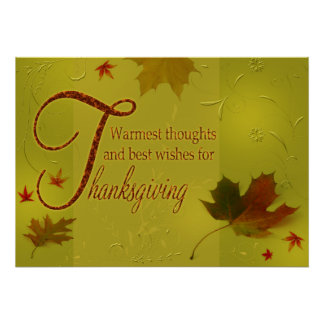 Thanksgiving Wishes Typography Leaves Poster Print
