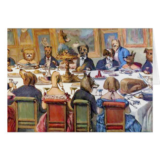 """Thanksgiving with Dogs aka """"Dogs Dinner Party """" Card"""