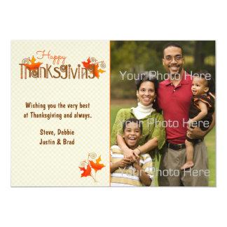 Thanksgiving Word Art, Leaves, Photo Card 13 Cm X 18 Cm Invitation Card