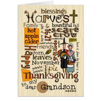 Thanksgiving Wordcloud - Grandson Card