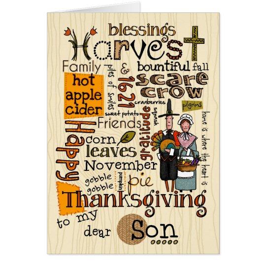 Thanksgiving Wordcloud - Son Card