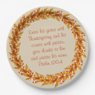 "Thanksgiving Wreath Bible Verse Plates 9"""