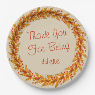 """Thanksgiving Wreath Thank You For Being Plates 9"""""""