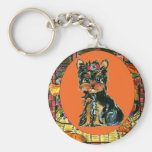 Thanksgiving Yorkie Poo Keychain