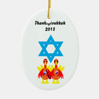 Thanksgivukkah 2013 Wine Toasting Turkeys Ornament