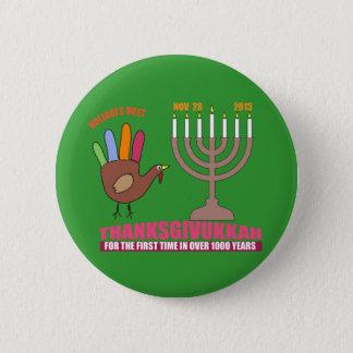 thanksgivukkah 6 cm round badge
