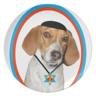 Thanksgivukkah Funny Hound Dog with Yamaka Plate