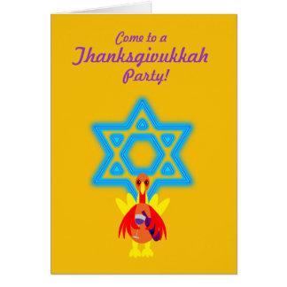 Thanksgivukkah Funny Turkey w Wine Invitations Note Card