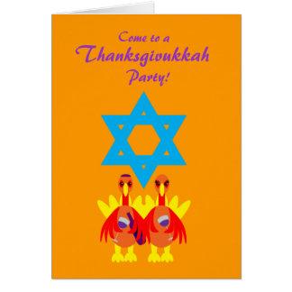 Thanksgivukkah Funny Turkeys Wine Invitations Note Card