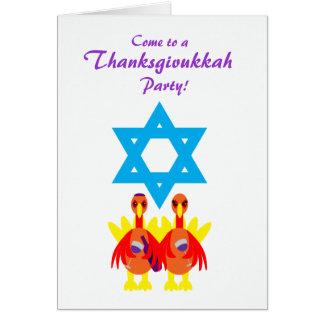 Thanksgivukkah Funny Turkeys Wine Invitations Greeting Card
