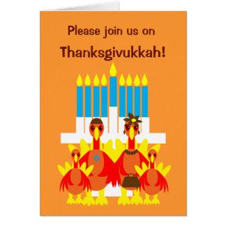 Thanksgivukkah Invitation Funny Turkey Family Greeting Card