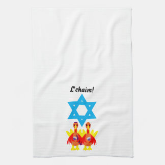 Thanksgivukkah Kitchen Towels Wine Toasting Turkey