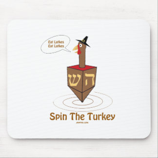 THANKSGIVUKKAH SPIN THE TURKEY HANUKKAH GIFTS MOUSE PAD
