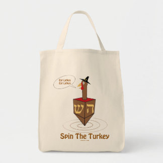 THANKSGIVUKKAH SPIN THE TURKEY HANUKKAH GIFTS TOTE BAG