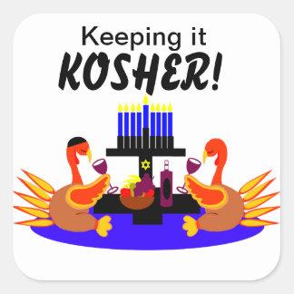 Thanksgivukkah  Stickers Wine Toasting Turkeys