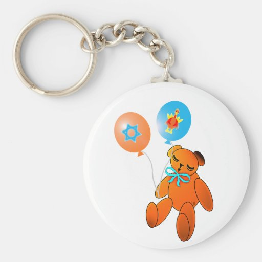 Thanksgivukkah Teddy Bear with Balloons Key Chain