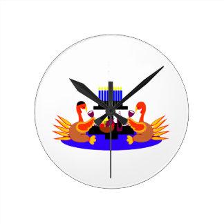Thanksgivukkah Wine Toasting Turkeys Clock