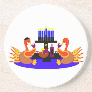 Thanksgivukkah Wine Toasting Turkeys Drink Coasters