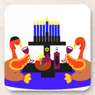 Thanksgivukkah Wine Toasting Turkeys Coaster