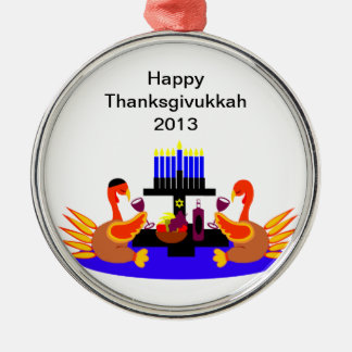 Thanksgivukkah Wine Toasting Turkeys Christmas Ornaments