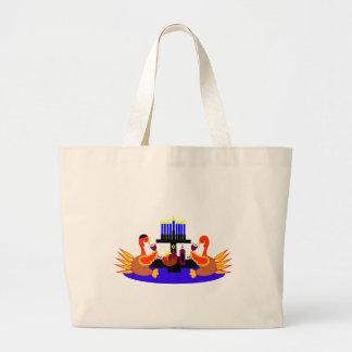 Thanksgivukkah Wine Toasting Turkeys Large Tote Bag