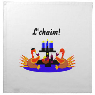 Thanksgivukkah Wine Toasting Turkeys Cloth Napkin