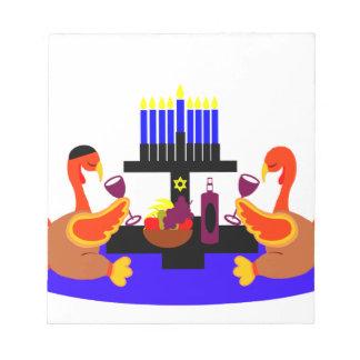 Thanksgivukkah Wine Toasting Turkeys Memo Pad
