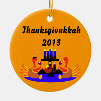 Thanksgivukkah Wine Toasting Turkeys Ornament