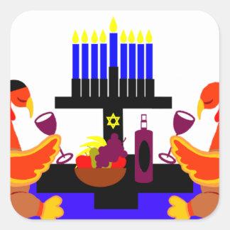 Thanksgivukkah Wine Toasting Turkeys Sticker