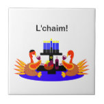 Thanksgivukkah Wine Toasting Turkeys Tiles
