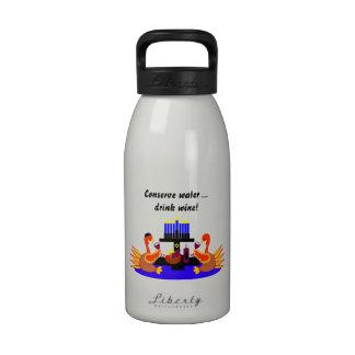 Thanksgivukkah Wine Toasting Turkeys Water Bottle