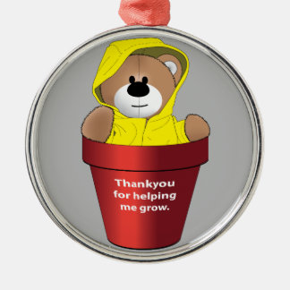 Thankyou Teacher Silver-Colored Round Decoration