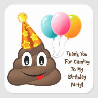 ThankYou Yellow Party Poop Emoji Birthday Stickers