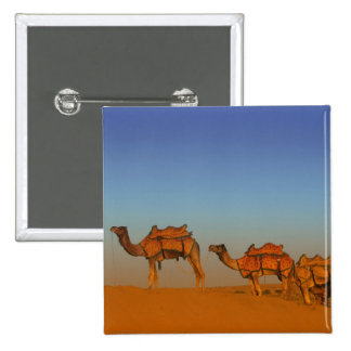 Thar desert, Rajasthan India. Camels along the 15 Cm Square Badge