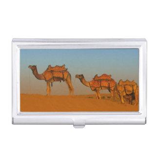 Thar desert, Rajasthan India. Camels along the Business Card Holder