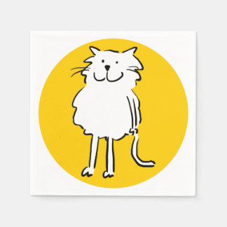 That Cat cartoon. Cat standing and smiling. Disposable Serviette