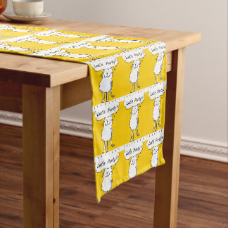 """That Cat, standing and smiling, says """"Let's party! Short Table Runner"""