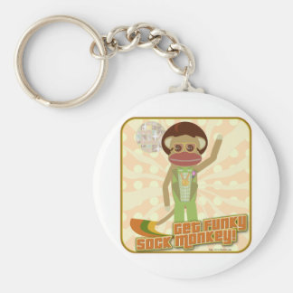 That Funky Sock Monkey Basic Round Button Key Ring
