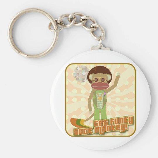 That Funky Sock Monkey Basic Round Button Key Ring