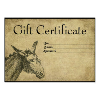 That Ol' Mule- Prim Gift Certificate Cards Business Card