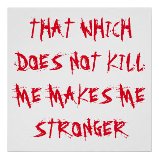 """""""THAT WHICH DOES NOT KILL ME MAKES ME STRONGER"""" POSTER"""