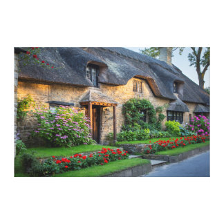 Thatch roof cottage in England Canvas Print