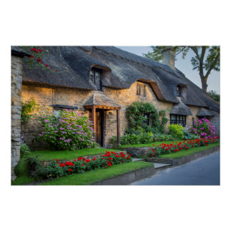 Thatch roof cottage in England Poster