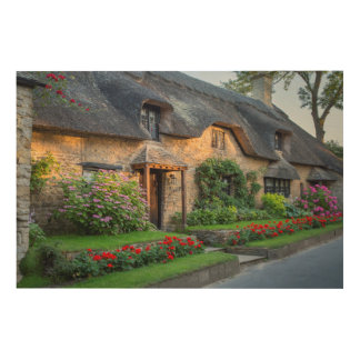 Thatch roof cottage in England Wood Canvases