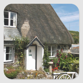 Thatched Cottage at Cadgwith Cornwall Photograph Square Sticker