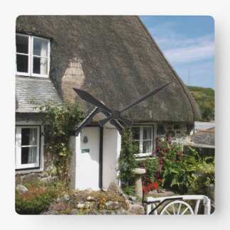 Thatched Cottage at Cadgwith Cornwall Photograph Square Wall Clock