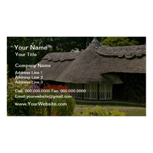 Thatched cottage, England  flowers Business Cards