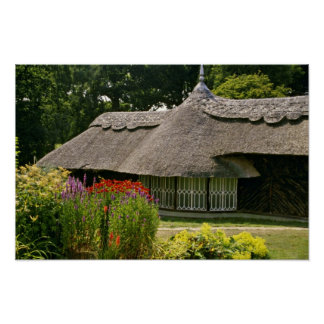 Thatched cottage England flowers Poster